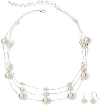 VIESTE ROSA Vieste Silver-Tone Pearlized Glass Bead 3-Row Necklace and Earring Set