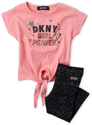 DKNY Infant Girls) Two-Piece Graphic Tee & Legging Set