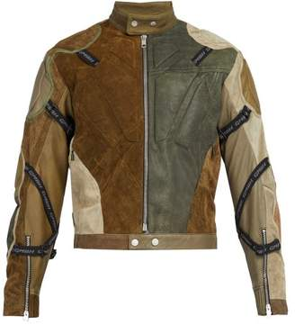 Gmbh - Ari Panelled Reclaimed Leather Jacket - Mens - Green