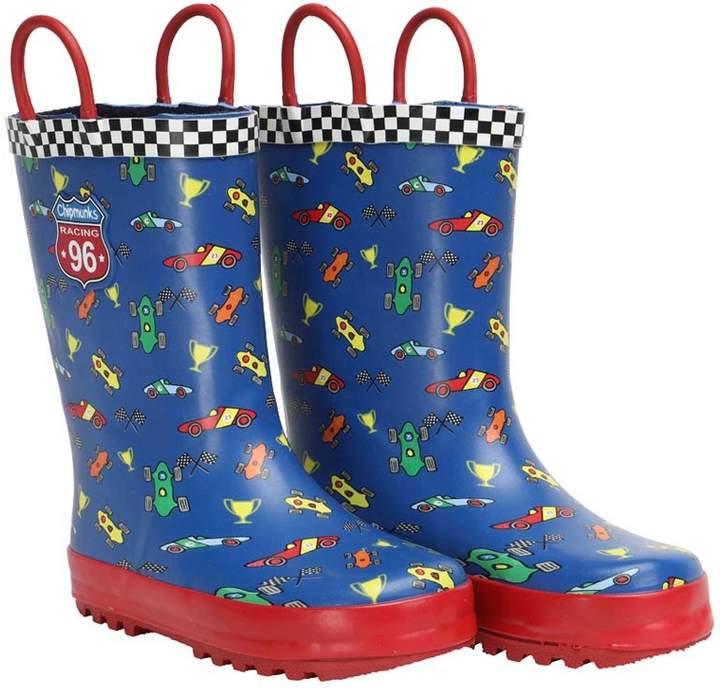 Chipmunks Boys Stirling Car Print Wellington Boots Blue/Red