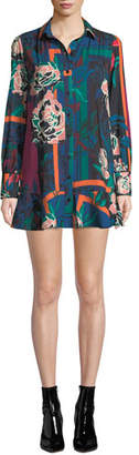 Parker Norma Printed Flounce Long-Sleeve Shirtdress
