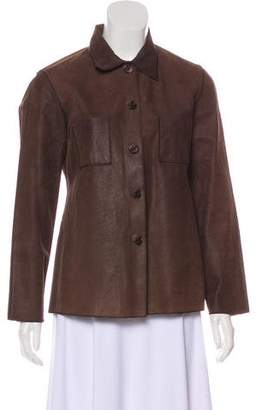 Rozae Nichols Button-Up Leather Top