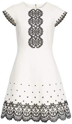 Kate Spade ria laser cut embroidered A-line dress