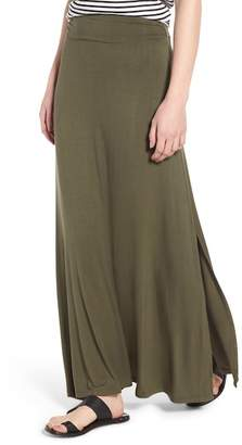 Bobeau Ruched Waist Side Slit Maxi Skirt (Regular & Petite)