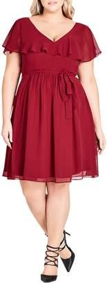 City Chic Smock Back Ruffle Sleeve Dress