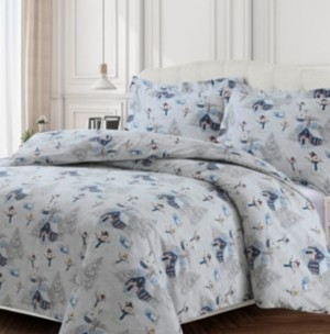 Tribeca Living Snowman Cotton Flannel Printed Oversized King Duvet Set Bedding