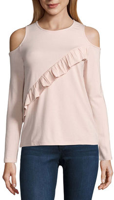 BUFFALO JEANS i jeans by Buffalo 3/4 Sleeve Cold Shoulder Ruffle Top $44 thestylecure.com
