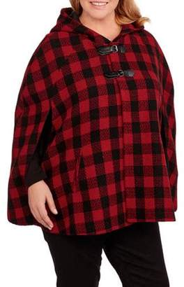Maxwell Studio Women's Plus-Size Hooded Plaid Cape with Faux Leather Buckle Details