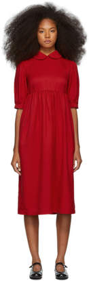 Comme des Garcons Red Twill Collared Dress