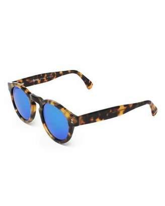 Illesteva Leonard Round Mirrored Sunglasses, Tortoise/Blue $177 thestylecure.com