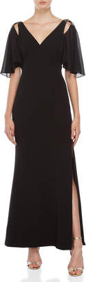 Vince Camuto Black Embellished Chiffon Gown