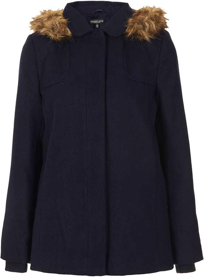 Topshop Petite Fur Hooded Swing Coat