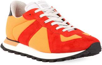 Maison Margiela Men's Replica Nylon & Suede Sneakers, Orange