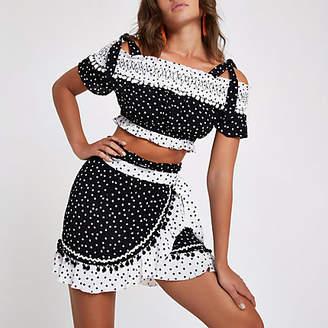 River Island Black polka dot wrap beach skirt