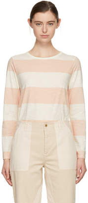 YMC Pink and Ecru Long Sleeve Day Wide Stripe T-Shirt