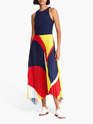 Ralph Lauren Polo Alyah Sleeveless Dress, Navy/Multi