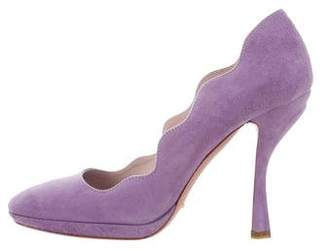 Prada Suede Round-Toe Pumps