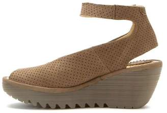Fly London Khaki Perforated Wedge