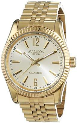Madison New York New York Madison Unisex Quartz Watch with White Dial Analogue Display and Silver Stainless Steel Plated Bracelet Glamour L4791D1