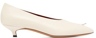 Marni Ring Pierced Leather Kitten Heel Pumps - Womens - Cream