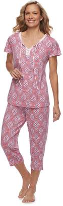 Croft & Barrow Women's Printed Shirt & Capri Pajama Set