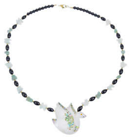 Lee Sands Swan Inlay & Gemstone Bead Necklace