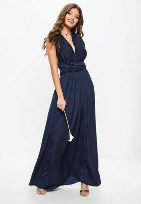 Missguided Bridesmaid Navy Satin Multiway Maxi Dress