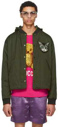 Gucci Reversible Green Cat Bomber Jacket