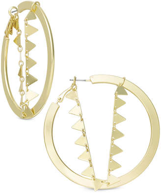 "INC International Concepts I.N.C. Extra Large 3.5"" Gold-Tone Triangle Chain Hoop Earrings, Created for Macy's"