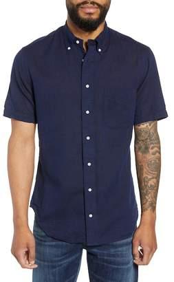 Gitman Trim Fit Indigo Linen & Cotton Sport Shirt