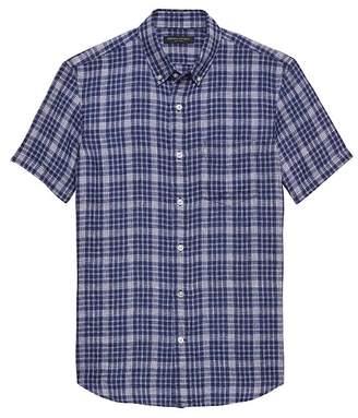 Banana Republic Camden Standard-Fit Linen Plaid Shirt