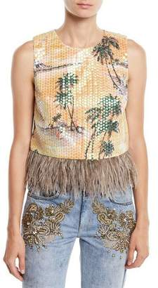 Le Superbe Hawaiian Shine Sequin Top with Feathers