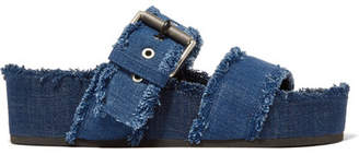 Rag & Bone Evin Denim Platform Slides - Dark denim
