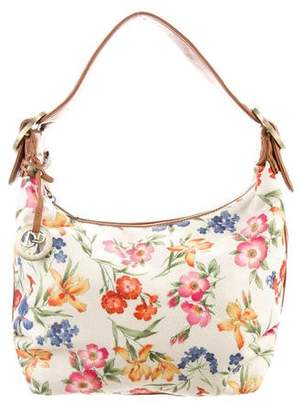 Donald J Pliner Leather-Trimmed Floral Print Hobo