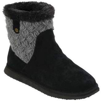 Dearfoams Women's Genuine Suede Mixed Material Short Boot with Knit Slippers