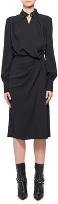 Altuzarra Kat Long-Sleeve Wrap Side-Drape Shirtdress