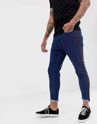 New Look tapered jeans with side stripe in dark blue wash