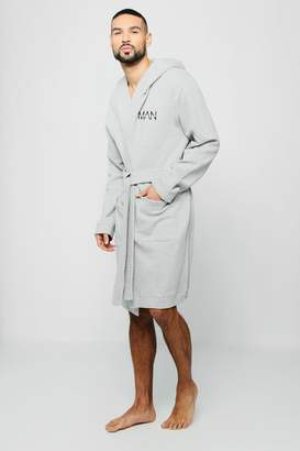 boohoo Jersey Fleece Hooded Robe With MAN Embroidery