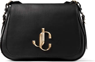 Jimmy Choo VARENNE/XB Black Calf Leather Cross Body Bag with Gold JC Logo