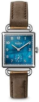 Shinola The Cass Mother-Of-Pearl, Stainless Steel& Double-Wrap Leather Strap Watch