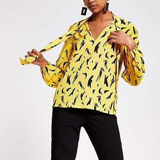 River Island Yellow print tie neck long sleeve blouse