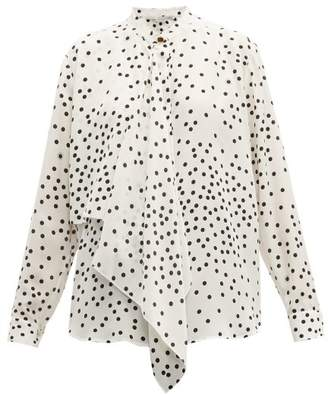 Stella McCartney Draped Front Polka Dot Silk Blouse - Womens - White Black