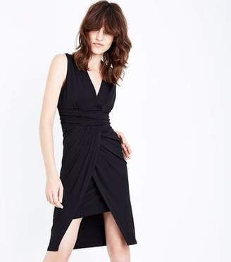 Yumi Black Wrap Front Waterfall Dress