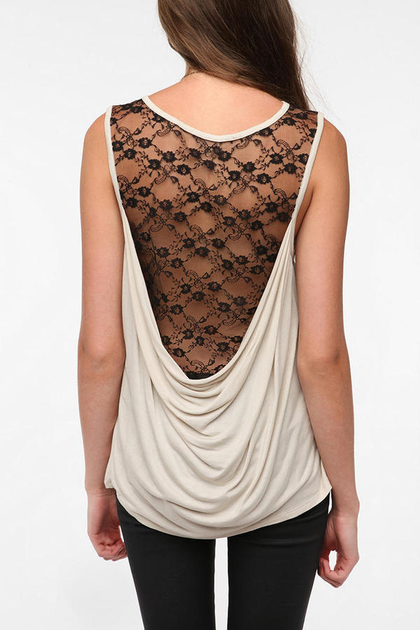 Silence & Noise Lace Cowl Back Tank Top