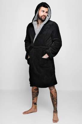 boohoo Mens Shaggy Fleece Robe With Contrast Lining