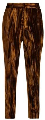 Saint Laurent Crinkled Velvet Mid Rise Trousers - Womens - Gold