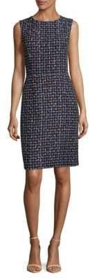 Oscar de la Renta Wool-Blend Grid Shift Dress