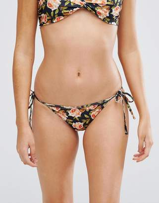 Playful Promises Tie Side Floral Rose Bikini Bottoms