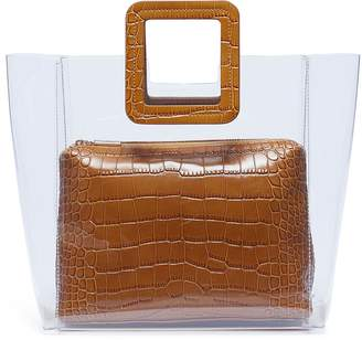 STAUD 'Shirley' croc embossed leather handle PVC tote