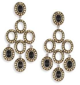 John Hardy Dot Black Onyx & 18K Yellow Gold Chandelier Earrings